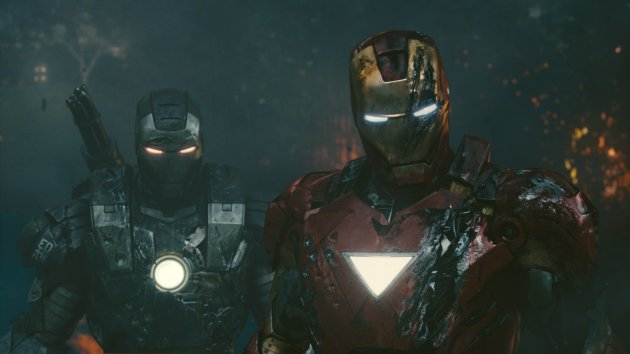 Don Cheadle as War Machine and Robert Downey Jr as Iron Man in Iron Man 2